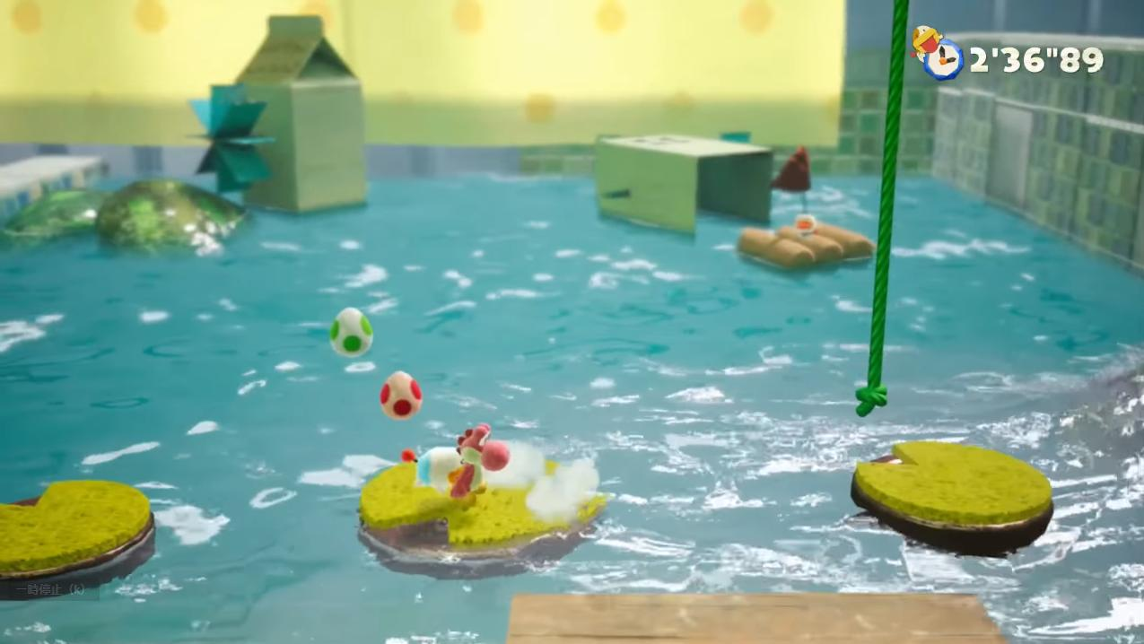 『ヨッシークラフトワールド』水描写