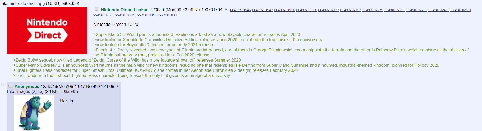 『Nintendo Direct』20200110海外リーク