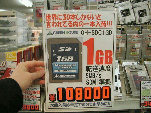メモリーカード1GB・2002年の価格