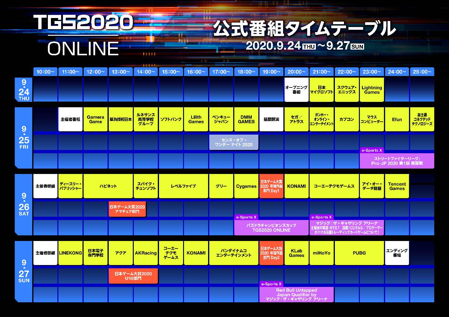 『東京ゲームショウ2020』タイムテーブル